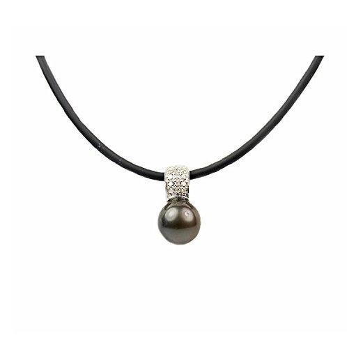 Regalia Tahitian Cultured Pearl 14K White Gold .07cts of Diamond Rubber Cord