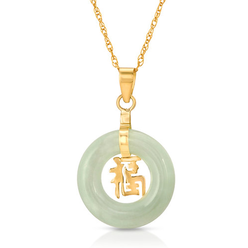 13-mm Dainty 14K 585 Yellow Gold Natural Genuine Jadeite Jade Good Luck Pendant