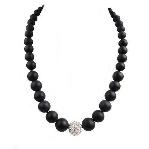 Matte Agate and Crystal Bead Necklace