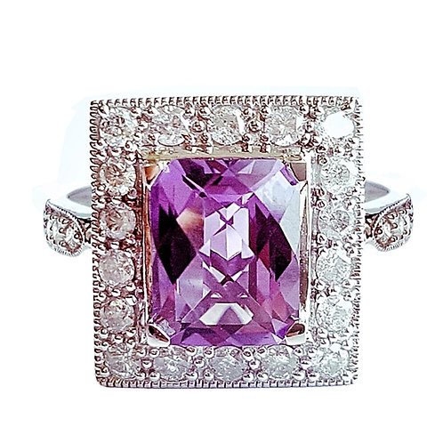 14K White Gold, Amethyst and 1/2Ct White Diamond Ring - Size 7