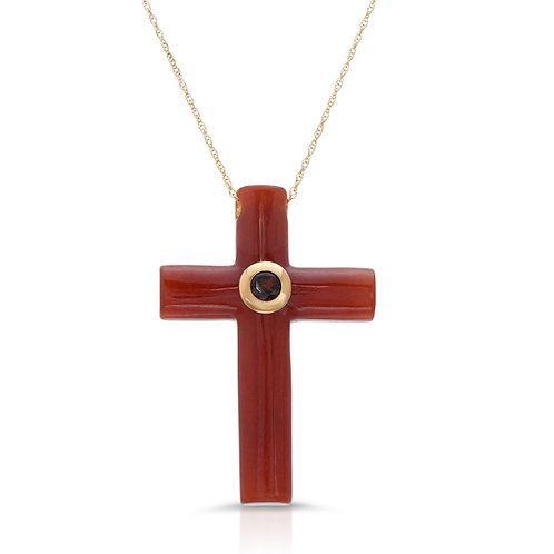 Garnet Cross Pendant in 14k Gold
