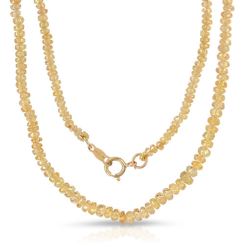 25-30 ct. tw. Faceted Golden Sapphire Bead Necklace with 14K Yellow Gold