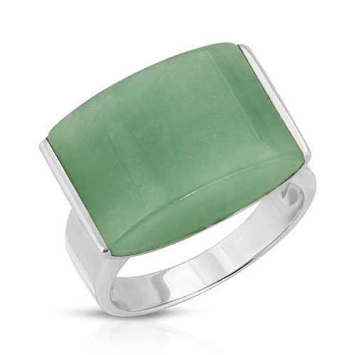 Regalia Jewels by Ulti Sterling Silver Green Jade Ring