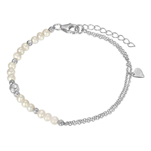 Romantic White Cultured Freshwater Pearl Bracelet in .925 Sterling Silver