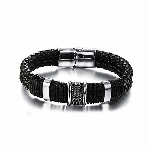 Stainless-Steel Braided Black Leather Bracelet for Men, Men Cuff Bracelet