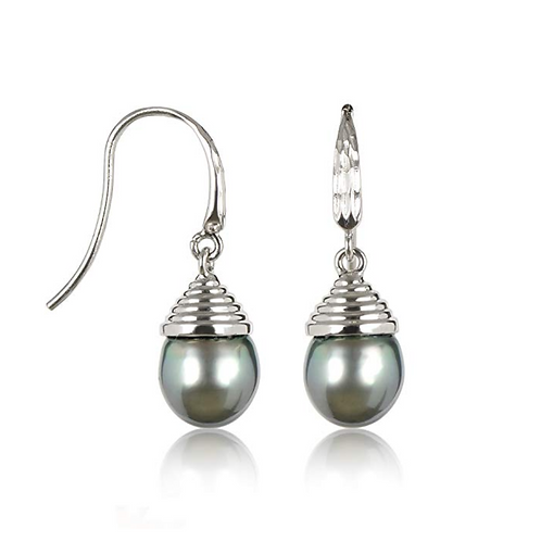10mm Cultured Tahitian Pearl Dangle Earrings in .925 Sterling Silver