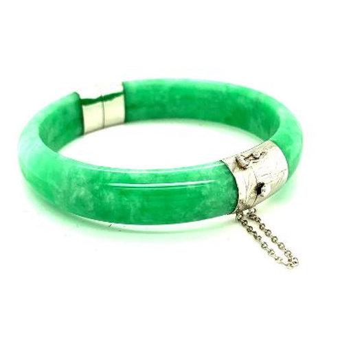 Genuine Jade and .925 Sterling Silver Bangle Bracelet