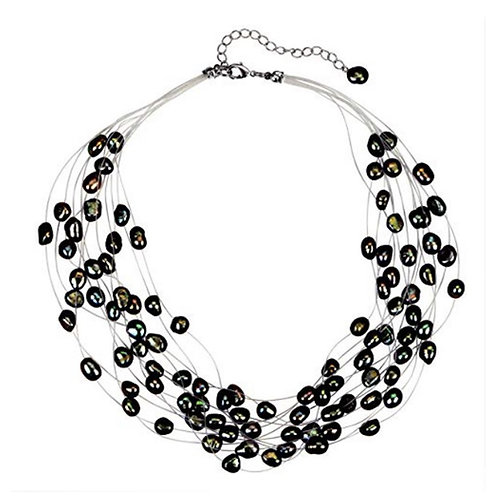 Multi Strand Baroque Black Freshwater Cultured Pearl Floating Necklace