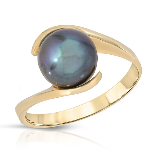 14K Yellow Gold and Black Freshwater Pearl Ring