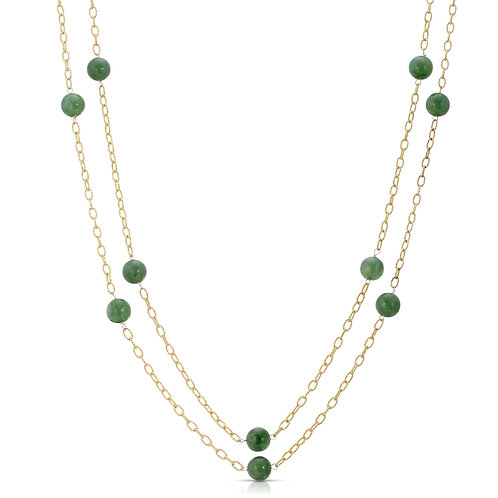 Long Genuine Jade Bead Necklace in .925 Sterling Silver 36""
