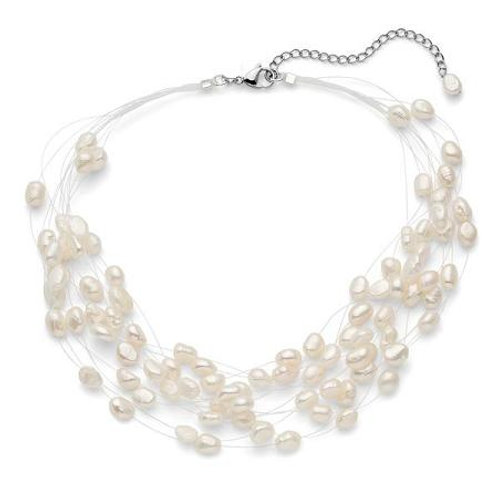 Regalia Multi Strand Baroque Freshwater Cultured Pearl Floating Necklace
