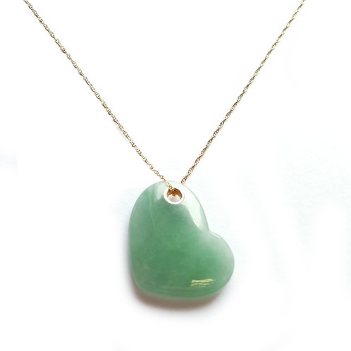 """14k Yellow Gold Heart Shape Jade Pendant with 18"""" Chain"""