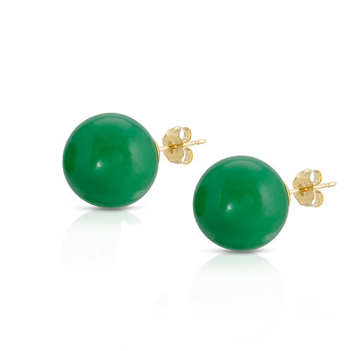 8mm Genuine Jade stud earrings 14K