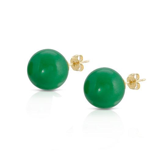 8mm Green Jade stud earrings 14K