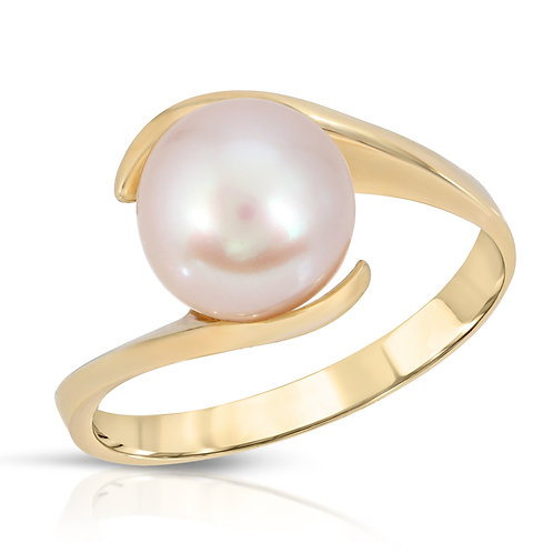 14K Yellow Gold and Pink Freshwater Pearl Ring