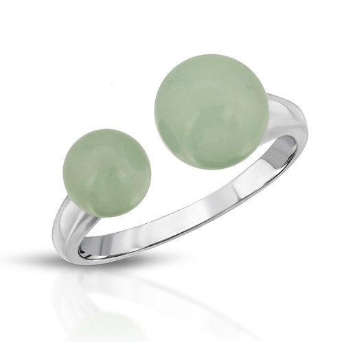 Genuine Jade Double Bead Adjustable Ring in .925 Sterling Silver