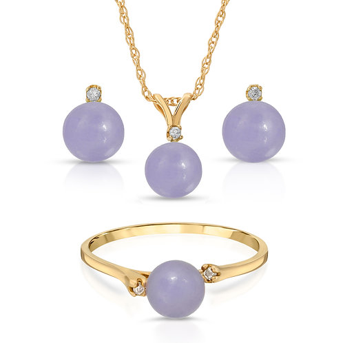 14K Gold Real Jade in Lavender Color 3pc Set with .05cts of White Diamond