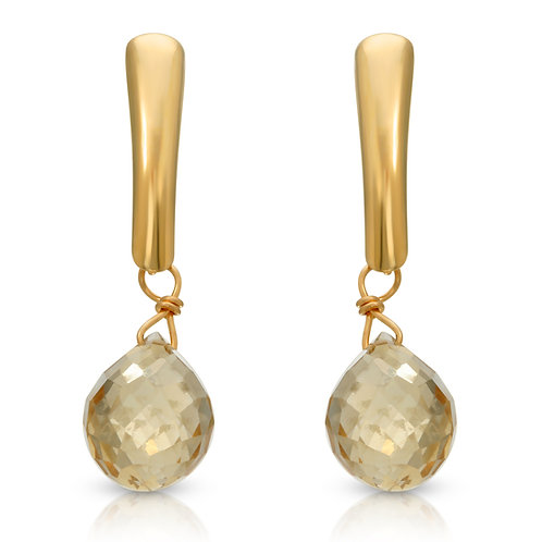 Regalia by Ulti Ramos 14K Yellow Gold Citrine Briolette Dangle Earrings