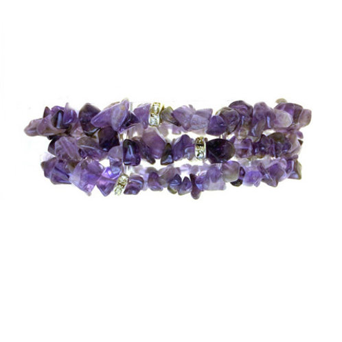 Amethyst 3 Piece Bracetet Set. Amethyst with Crystal Rondels