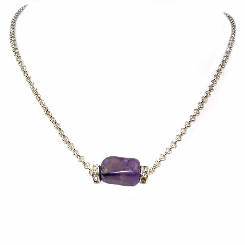 """Regalia by Ulti Ramos Amethyst Nugget and Crystal Roundell Chain Necklce 18"""""""