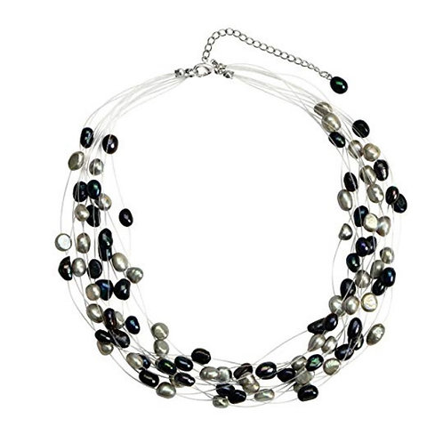 Multi Strand Baroque Multi-Black Freshwater Cultured Pearl Floating Necklace