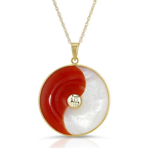 "14K Yellow Gold YIN YANG Taichi Good Fortune Pendant Necklace 17"""