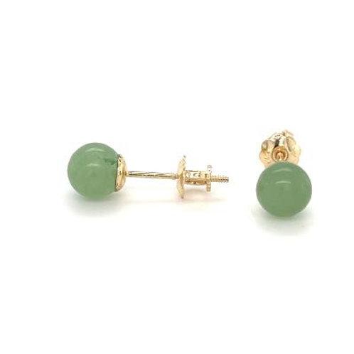 Genuine Jade 6mm Stud Earrings with Screw Back Post