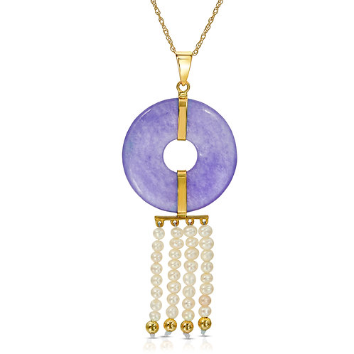 14K Yellow Gold Genuine Lavender Color Jade and Cultured Freshwarter Pearl