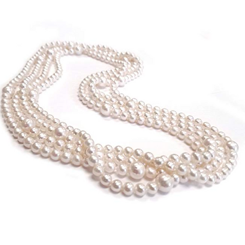 "100"" White Multi Size Freshwater Cultured Pearl Necklace Endless"