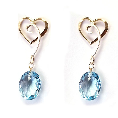 14K Yellow Gold Blue Topaz Oval Briollet Dangle Earrings