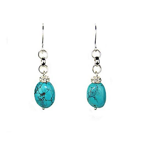 Composed Turquoise and Crystal Rondell Dangle Earrings