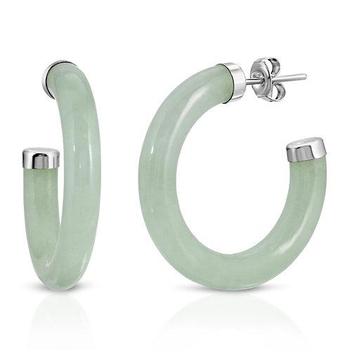 Genuine Green Jade Hoop Earrings in Sterling Silve
