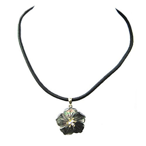 Black Mother of Pearl and .03ct of Diamonds on Silk Cord and 14K Yellow Gold