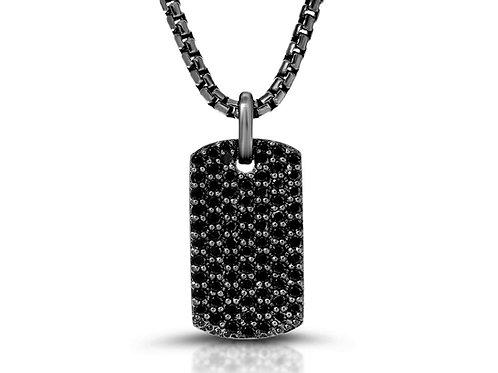 2.5 Ct. Black Diamond Tag Necklace Pendant in Black Rhodium Sterling Silver
