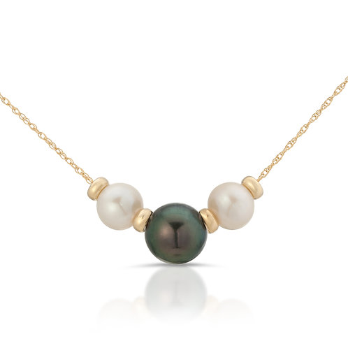 Triple Black Tahitian South Sea and Freshwater Pearl Necklace 14K