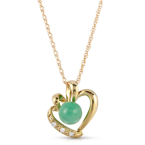 14k Yellow Gold Heart Pendant Necklace with Green Jade and .02Cts. of White Diam