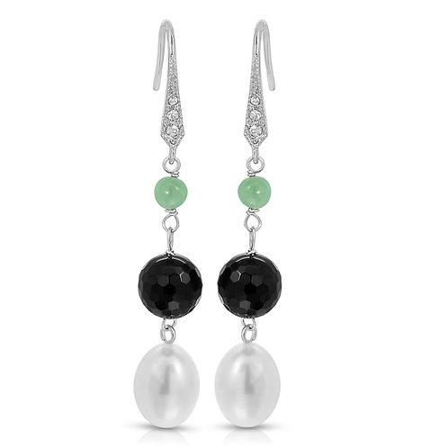 Genunie Jade, Onyx and Freshwater pearl Dangle Earrings