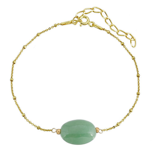Oval Genuine Jade Bead Bracelet in Gold Plated Sterling Silver