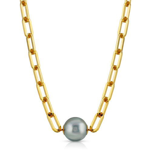 18K Yellow Gold over Sterling Silver Link Necklace with 12mm South Sea Pearl