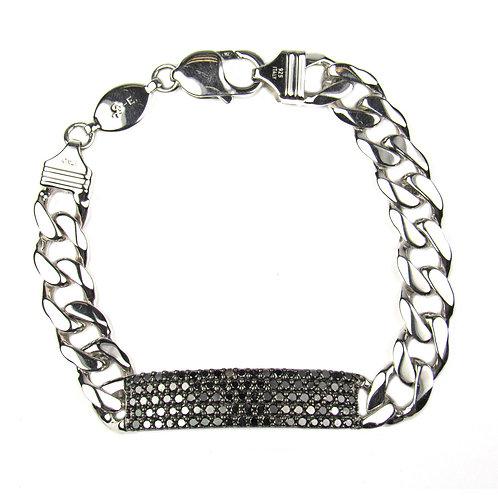 Regalia 3.5ct Black Diamond Men's ID Bracelet in Sterling Silver