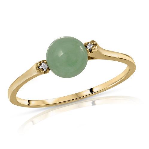Regalia by Ulti Ramos 14K Gold Genuine Jade and .02cts Diamond Ring