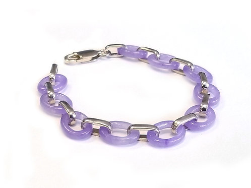 Sterling Silver and Oval Link Amethyst Braceelt 7""