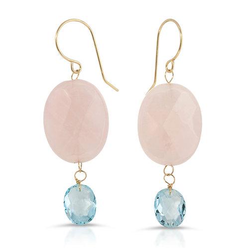 Blue Topaz and Rose Quartz Dangle Hook Earrings 14K