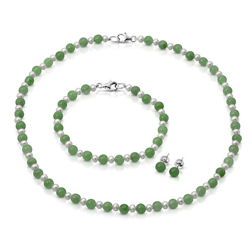 Regalia by Ulti Ramos Sterling Silver Jade and Freshwater Cultured Pearl Set