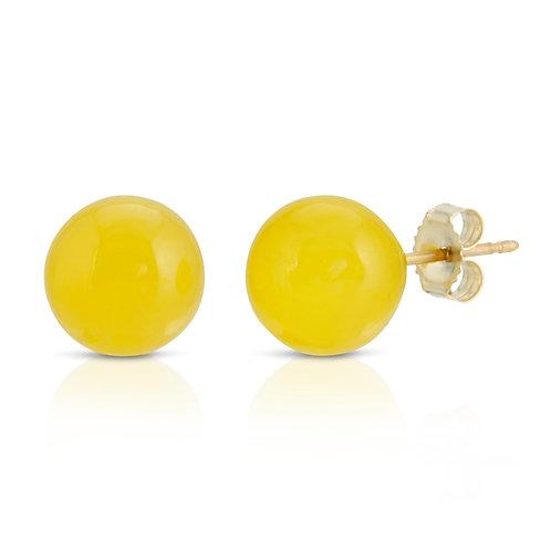 8mm Yellow Jade Stud Earrings in 14K