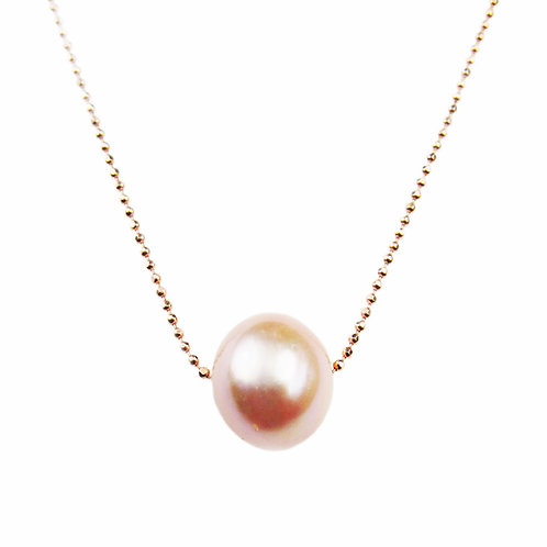 Pink Floating Single Freshwater Cultured Pearl Necklace .925 Sterling Silver