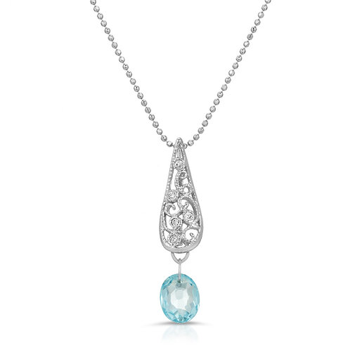 Swiss Blue Topaz Pendant Necklace in Sterling Silver