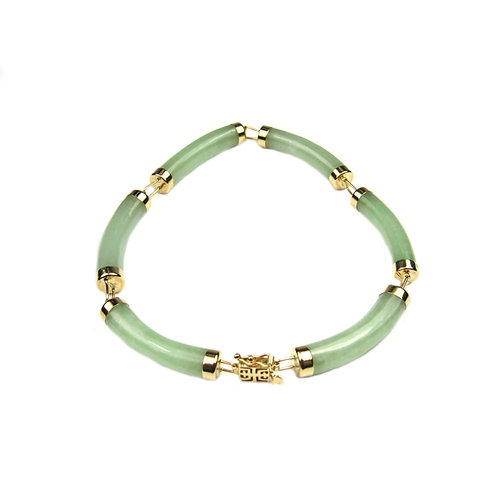 14K Yellow Gold Natural Green Jade Curved Link Bracelet