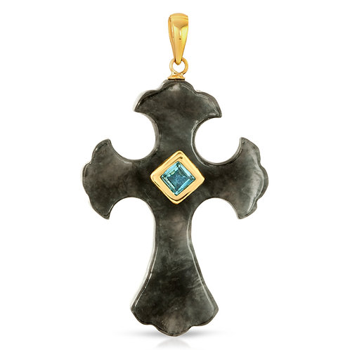 Regalia by Ulti Ramos Genuine Charcoal Jade Cross Pendant with Blue Topaz 14K