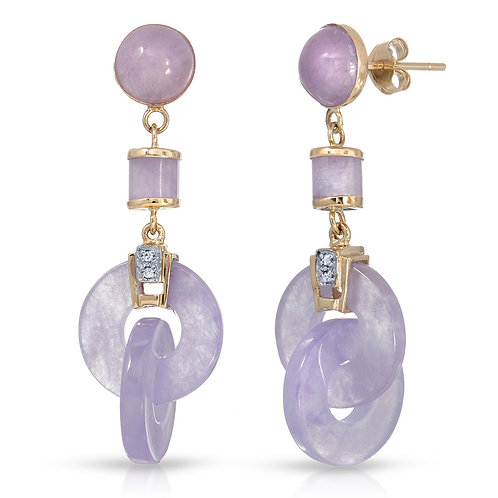 14K Yellow Gold Double Hoop Lavender Jade Dangle Earrings .01cts White Diamond
